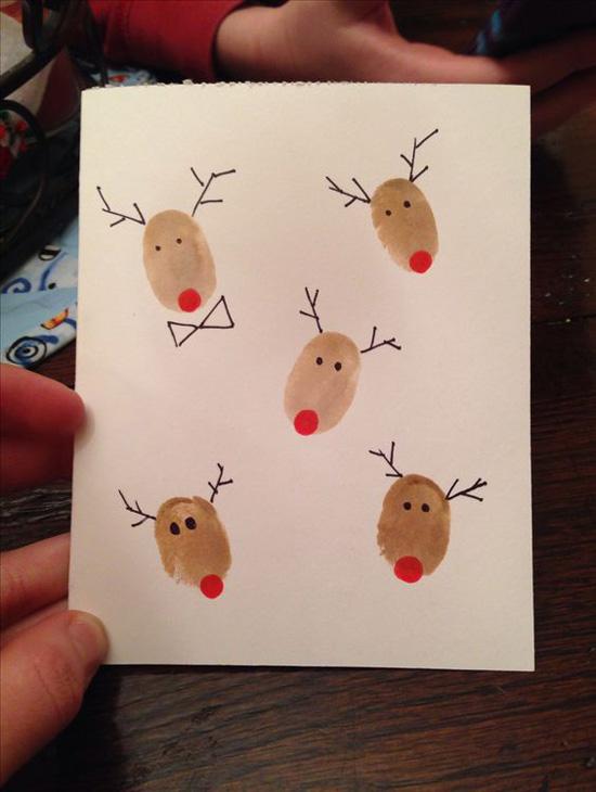 Making A Christmas Card Ideas Part - 15: Reindeer Fingerprint Christmas Card