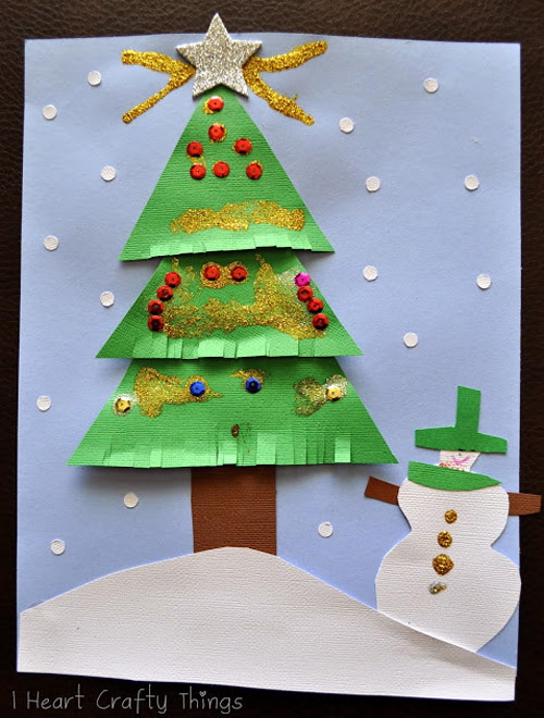 Christmas Card Craft Ideas For Kids Part - 46: Kids Christmas Tree Card Craft