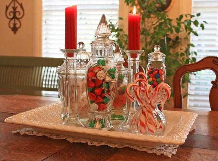 Wonderful Easy Christmas Table Centerpieces Decoration With Red Candles