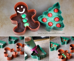 Other than candy, you can also fill the candy cutters with chocolate! Photo Credit: http://www.mykitchenaddiction.com/