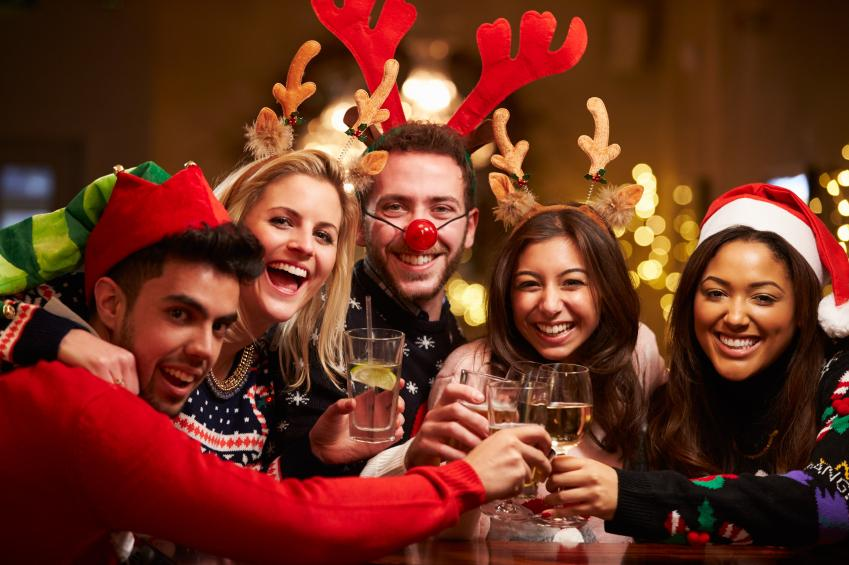 Enjoyable Office Christmas Party Games Ideas Part - 26: Enjoyable Office Christmas Party Games Ideas U2013 Desk Thief. Group Of Friends  Enjoying Christmas Drinks In Bar