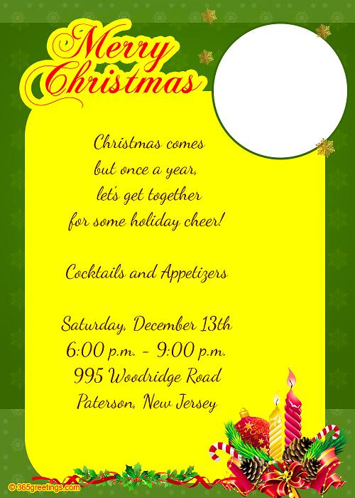 Christmas invitation template and wording ideas christmas christmas dinner invitation wording christmas party invitation stopboris Gallery