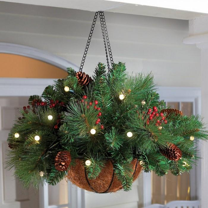 outdoor christmas lighted hanging basket decor - Hanging Lighted Christmas Decorations