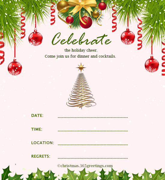 Christmas invitation template and wording ideas for Free holiday invitation templates