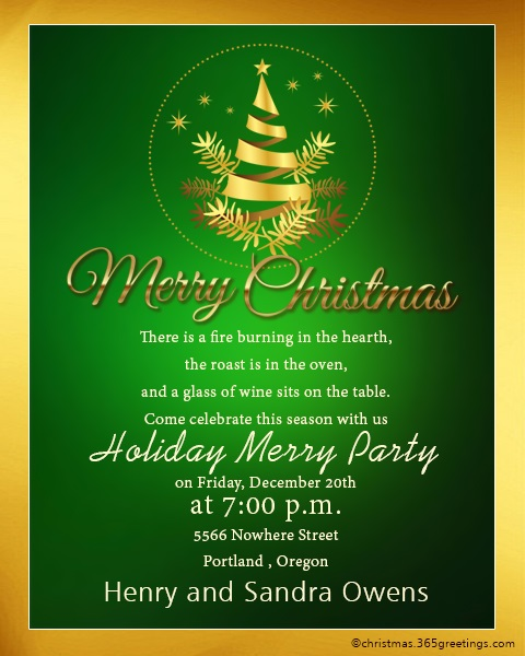 Christmas Invitation Template And Wording Ideas