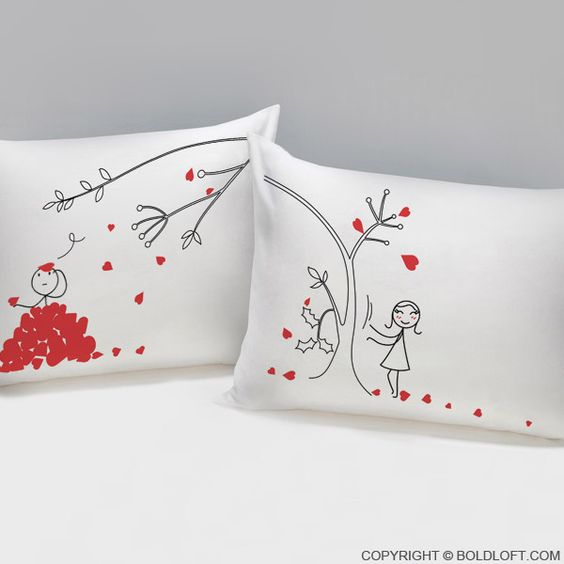 heres a simple visual reminder that tells her that you love her madly these cute couple pillowcases are full of romance and will win her over easily