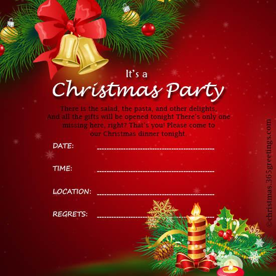 Christmas Invitation Template 2. Here Is Free Holiday ...  Christmas Dinner Invitations Templates Free