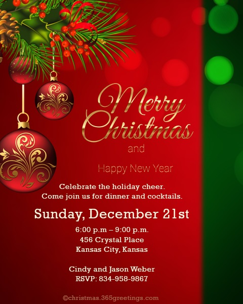 Christmas Invitation Template And Wording Ideas - Christmas ...