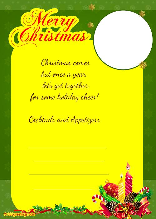 Christmas invitation template and wording ideas christmas christmas party invitation template sample 1 stopboris Gallery
