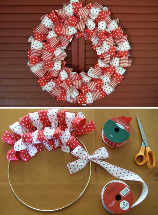 Easy to make homemade diy christmas wreaths christmas celebration tape diy christmas wreath solutioingenieria Images