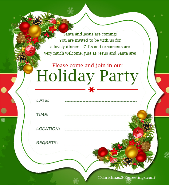 Christmas Invitation Template And Wording Ideas , Christmas