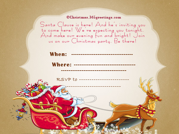 Christmas Invitation Wordings.  Gathering Invitation Sample