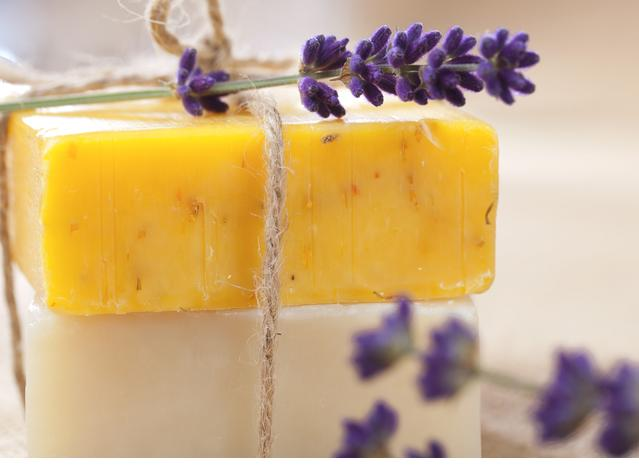 handmade  soap bars with lavender flowers, shallow DOF