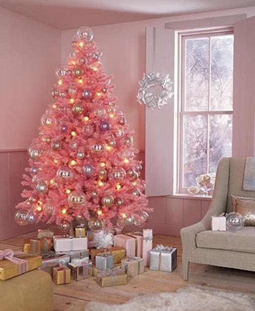 pink christmas tree decorating ideas - Light Pink Christmas Tree