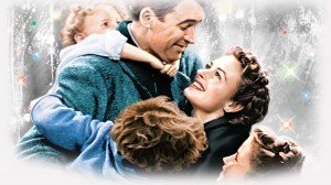A colored scene from It's a Wonderful Life.