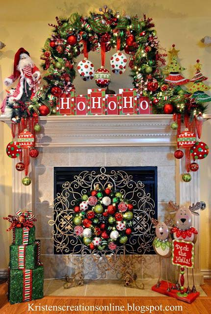 christmas fireplace decorating ideas 01 - Christmas Fireplace Decorating Ideas