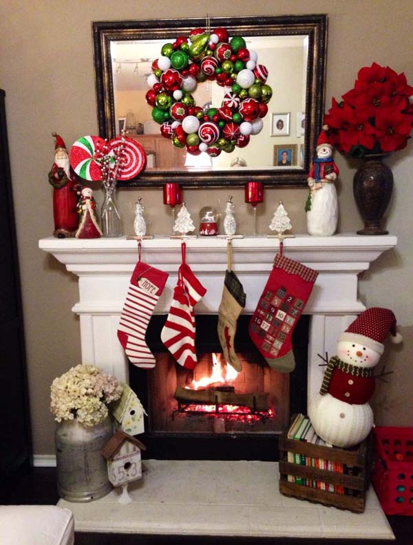 christmas fireplace decorating ideas 02 - Christmas Fireplace Decorating Ideas