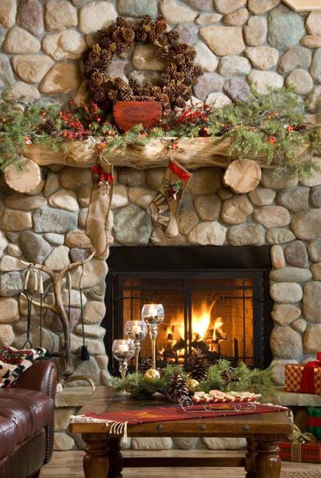 christmas fireplace decorating ideas 11 - Christmas Fireplace Decorating Ideas