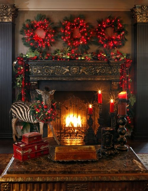 image pinterest christmas fireplace decorating ideas 12 - Christmas Fireplace Decorating Ideas