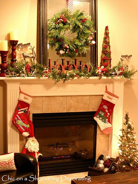 image pinterest christmas fireplace decorating ideas 17 - Fireplace Mantel Christmas Decor