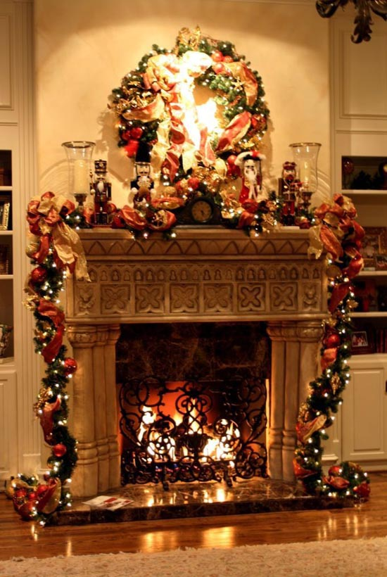 christmas fireplace - How To Decorate A Fireplace For Christmas