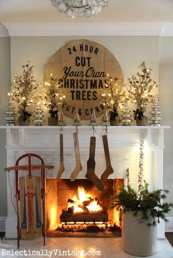 christmas fireplace decorating ideas 20