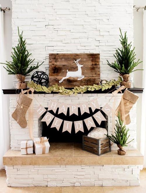 christmas fireplace decorating ideas 22