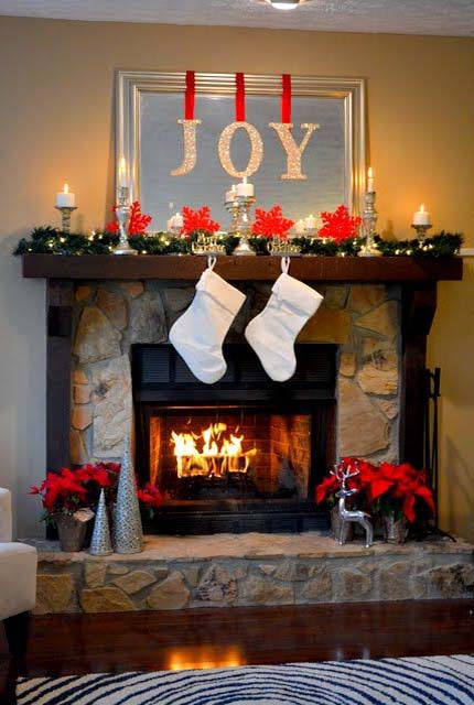 christmas fireplace decorating ideas - Christmas Fireplace Decorating Ideas