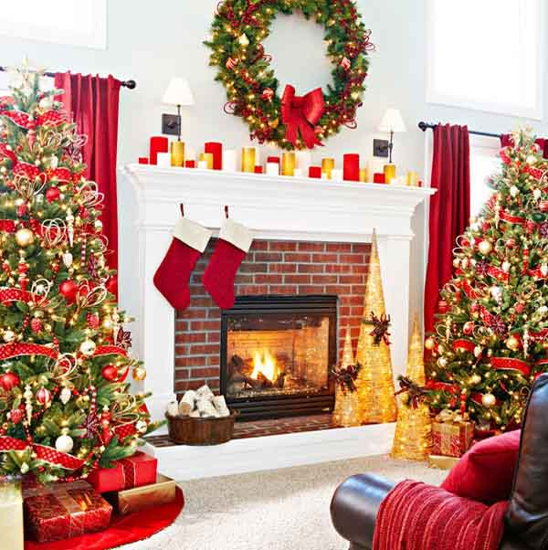 christmas fireplace decorations with christmas tree