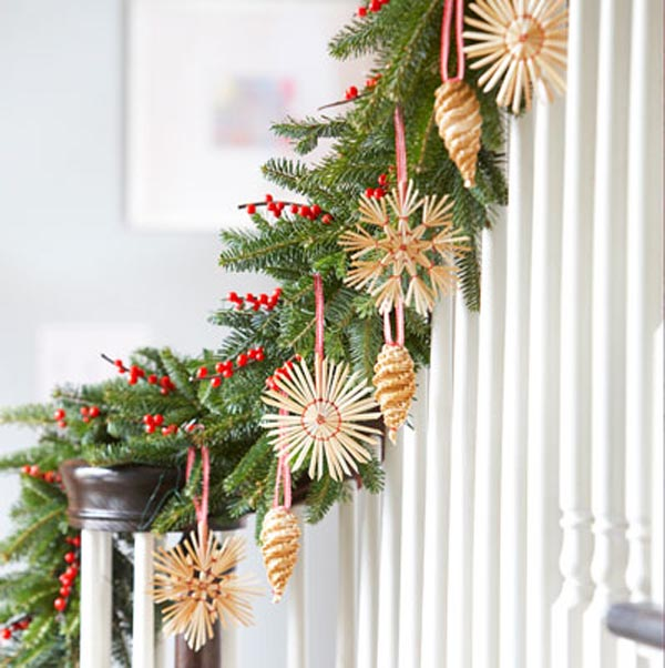 christmas garland decorations - Banister Christmas Garland Decor
