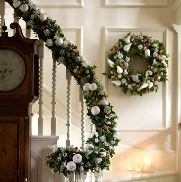 christmas stair garland - Banister Christmas Garland Decor