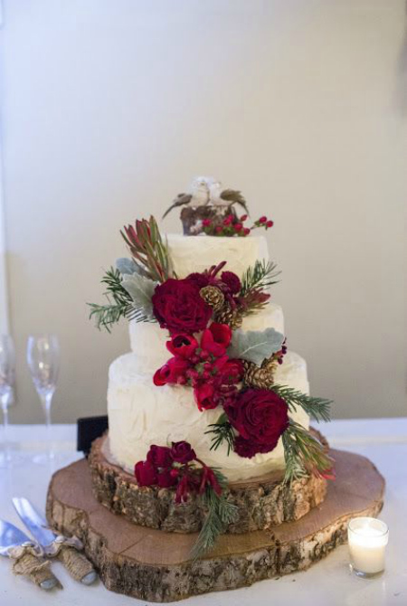 Christmas Themed Wedding Cake