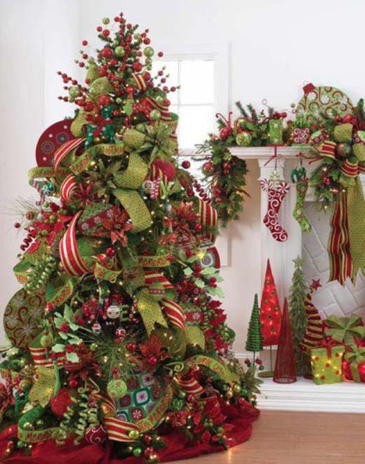 elegant christmas tree decorating ideas with ribbon photo7