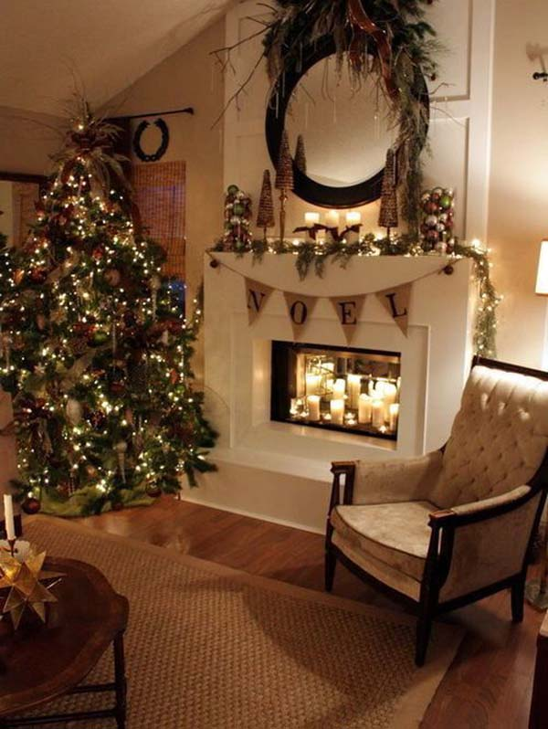 50 most beautiful christmas fireplace decorating ideas for Xmas living room ideas