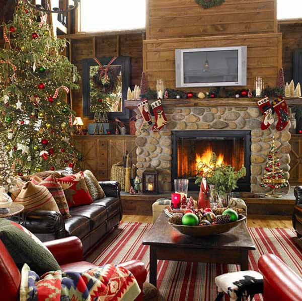 fireplace decorating ideas for christmas - Fireplace Hearth Christmas Decorating Ideas