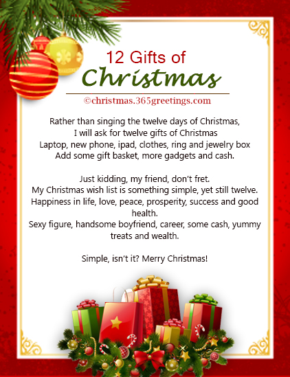 12 days of christmas poems and gifts