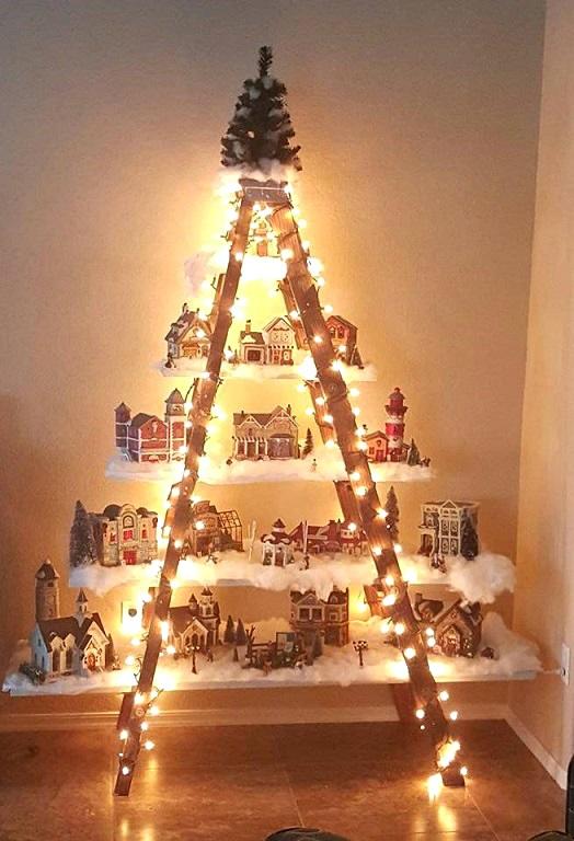 christmas ladder village decoration