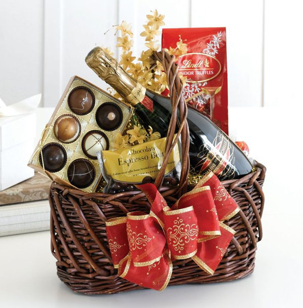 Wine Gifts For Christmas Part - 26: Chocolate And Wine Gift Basket