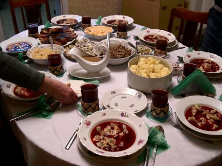 Christmas Eve traditions, including culinary ones, are the combination of ancient pagan customs with religious ones introduced by the Catholic Church, local traditions and various folk cultures. The supper, which traditionally includes twelve dishes and desserts, may last for a good couple of hours.