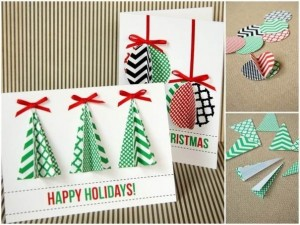 You can use paper to make cards and then again different patterned paper to decorate the cards. Photo Credit: http://www.lifeartworks.com/wp-content/uploads/2012/12/DIY-Holiday-Cards-16.jpg