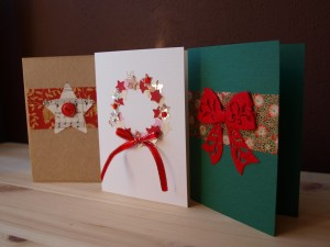 To save some money, make your own Christmas Cards by using ribbons, cardboard paper, bows etc. Photo Credit: http://www.latesthandmade.com/wp-content/uploads/2013/01/PA199175.jpg