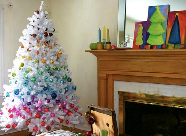 White-Christmas-Tree-Ideas-White-Colorful-Tree