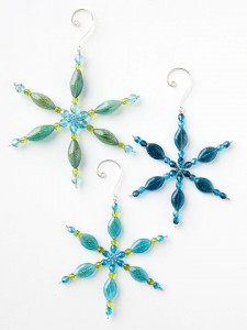 beaded snowflakes ornaments