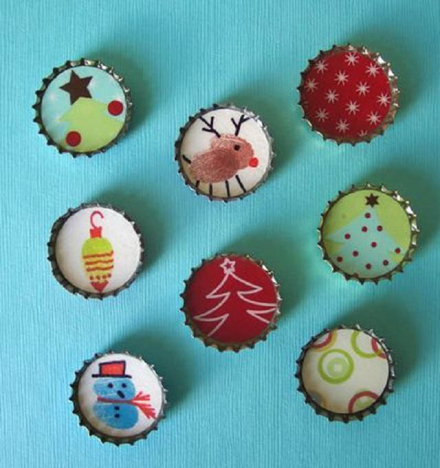 Christmas Crafts For Family Part - 17: Christmas-craft-ideas-for-kids-bottle-caps