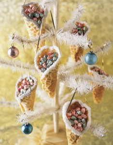 pizzelle candy cone ornaments