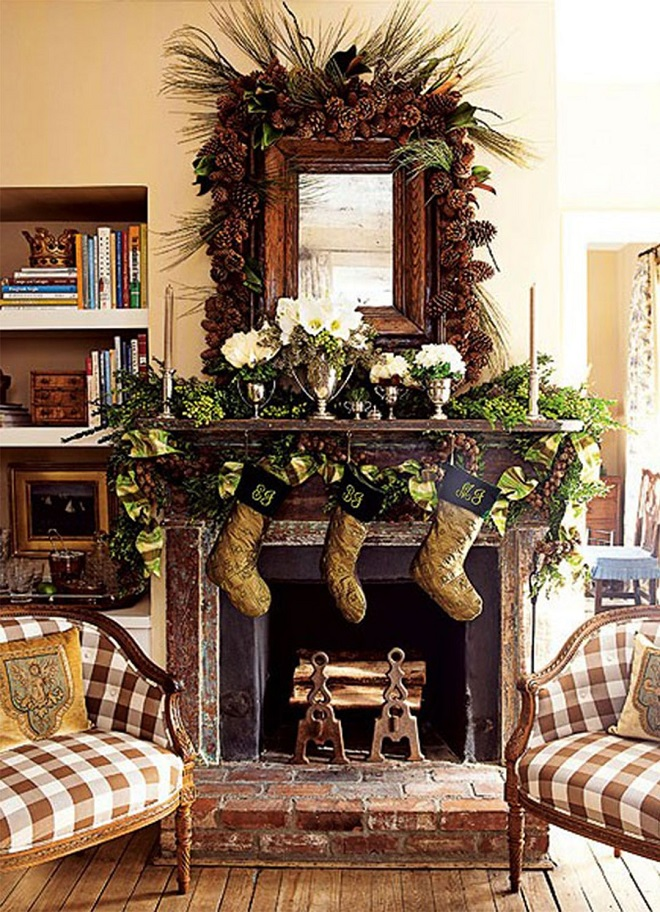 mantle decor for rustic christmas