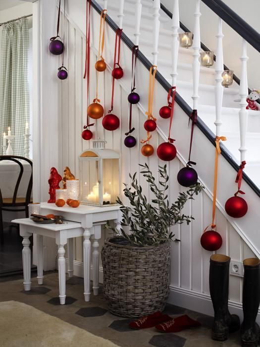 This Year You May Want To Keep Your Christmas Decoration With As Simple Hanging A Few Balls In Banister Yes