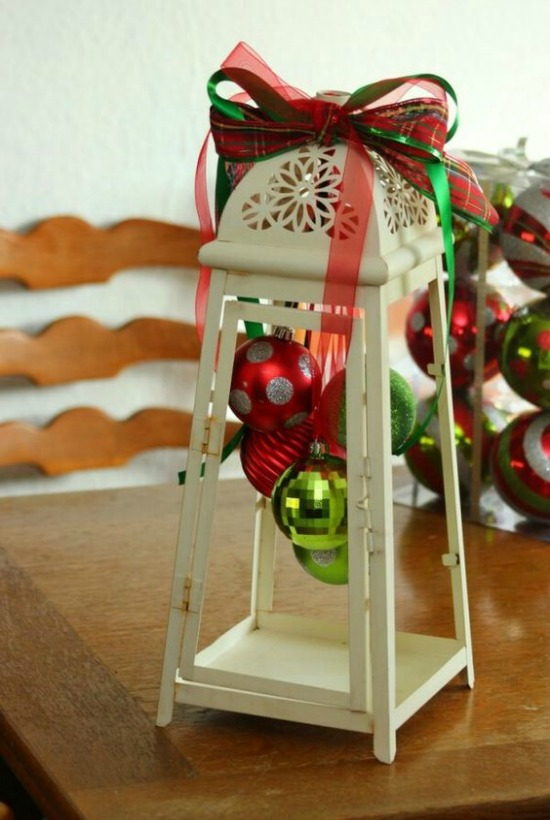 this is such a cute and adorable christmas lantern with just a few hanging christmas balls and ribbons as decoration this could be a perfect christmas - Ideas For Decorating For Christmas Inside
