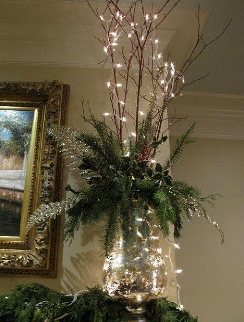 for those tight budget decorators you can use this simple and easy to do christmas decor idea use some clear glass twigs and pine leaves