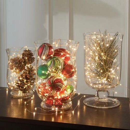no need to get too complicated when decorating your indoor you can use those stuff that are just lying around like clear glasses and cylinders - Indoor Christmas Decorations Ideas